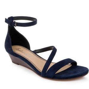 Splendid Stefano Strappy Wedge Sandal - Navy Suede